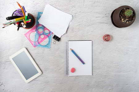 Take notes in a diary. Smoothing a schedule for a day. Time management. Flat lay.
