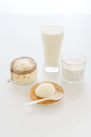 Set of dairy products in white light from the window. 版權商用圖片