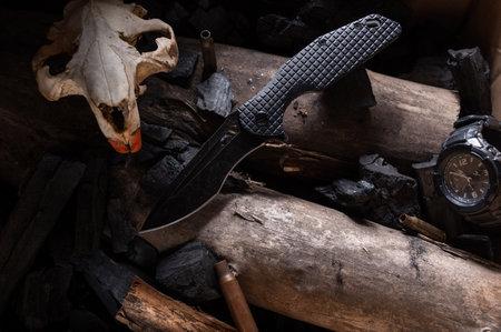 Knife, cartridges and animal skull. Shockproof watch and knife. Brutal male set.
