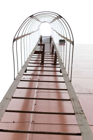 Fire escape with a tunnel. Roof ladder with tunnel. Safety ladder. Vertical frame.