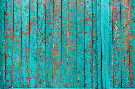 Wooden background painted in turquoise color. Cracked turquoise paint. Old paint on the fence. Фото со стока