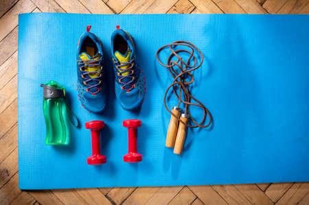 Cardio set. Cardio as a lifestyle. Items for cardio training.