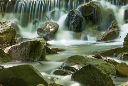 Water flowing over rocks in mountain stream