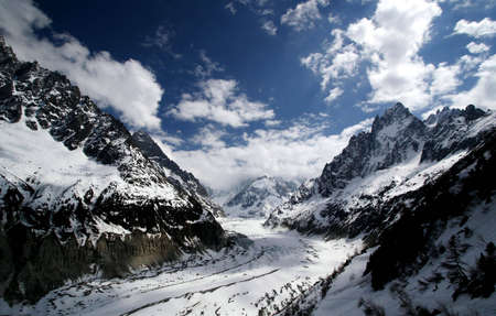 tresspass: Way forward. Cloudy mountains, French Alps