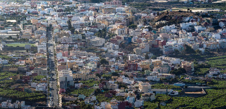 Panoramic view on colorful houses and the main street of the city Los Llanos. La Palma Canary Islands. Фото со стока
