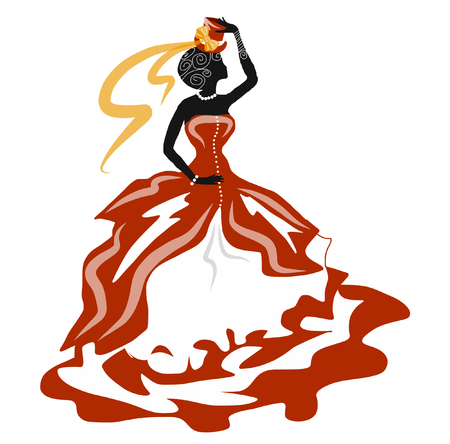 red dress: Woman dancing in a red dress