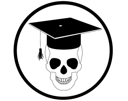 beanie: Skull with hat university students graduate Illustration