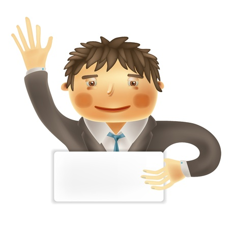 Funny cartoon office worker for use in presentations, etc  Vector