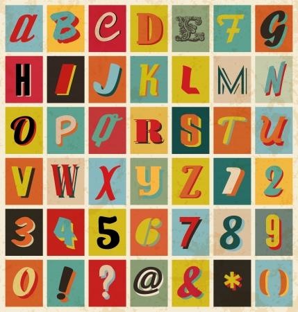 retro font: Alfabeto Doodle per presentazioni aziendali, in stile retr�