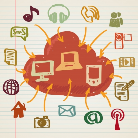 Social media, cloud communication in doodle style Illustration