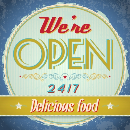 Vintage metal sign - We Are Open, Come In  Vector