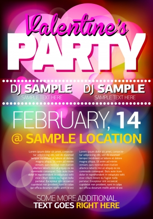 Valentines Party Flyer Poster Illustration