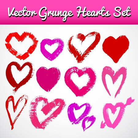 lovestruck: Grunge hearts on white background  Vector set Illustration