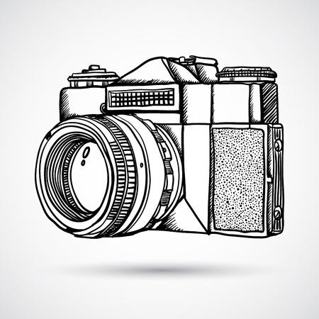 photography backdrop: Vintage doodle camera, hand-drawn