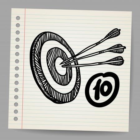 Target mission illustration vector doodle