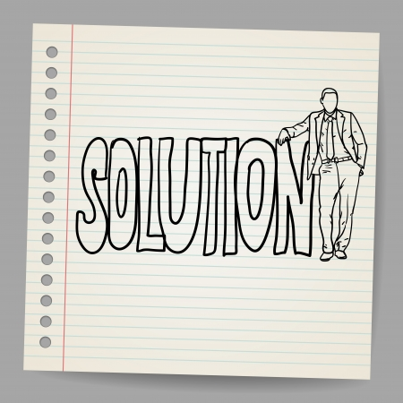 Businessman with word solution Stock Vector - 16989483