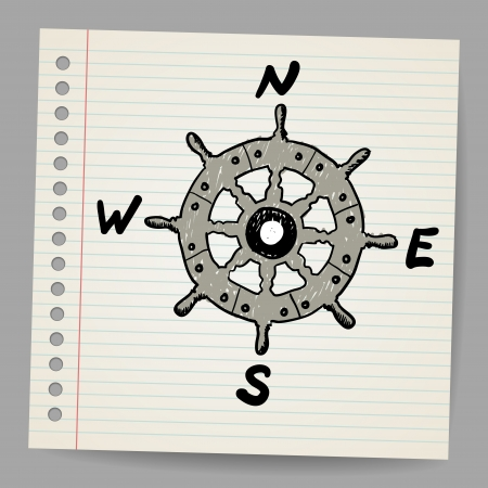 Doodle steering control-compass sketch concept Stock Vector - 16989487