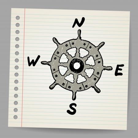mariner: Doodle steering control-compass sketch concept
