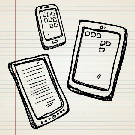 Sketches of a e-book, tablet and smartphone in doodle syle