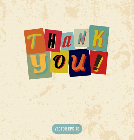Thank you sign in retro doodle style, for you business sites etc Vector