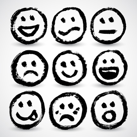 Een pictogram set van grunge cartoon lachende gezichtjes