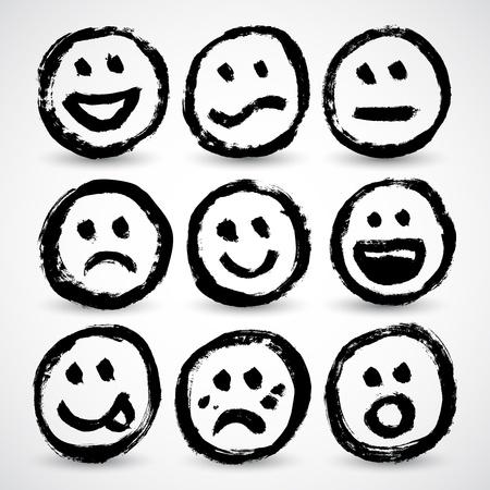 sentimientos y emociones: Un conjunto de iconos de dibujos animados grunge caras sonrientes Vectores