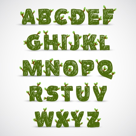 complete: Handwritten ABC alphabet with leaf Illustration