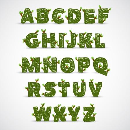 completato: Manoscritti alfabeto ABC con foglia Vettoriali