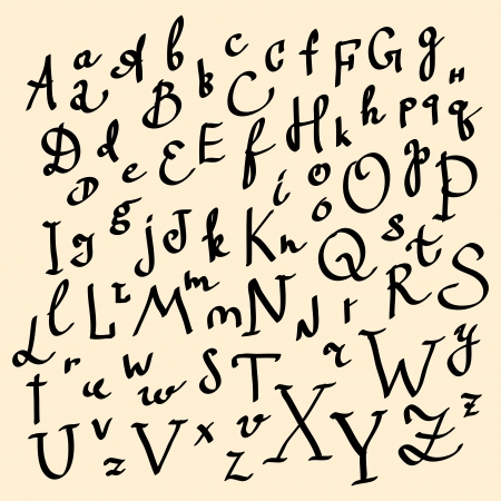 written text: alphabet  Hand drawn letters