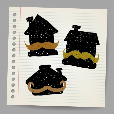 handyman cartoon: House with mustaches doodle concept illustration