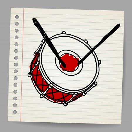 snare: Doodle hand-drawn bass drum instrument Illustration