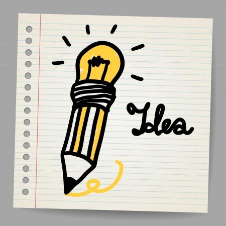 Light bulb, Pencil, and Good idea