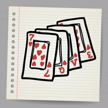Doodle playing cards with the word love Stock Vector - 17624072