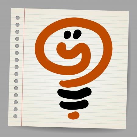 conceptual bulb: Idea light bulb doodle illustration