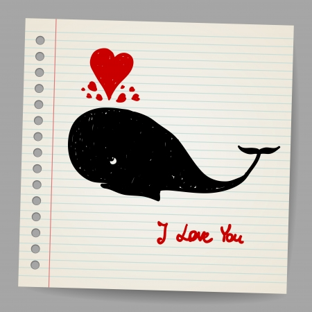 Cute doodle in love whale with hearts  illustration Vector