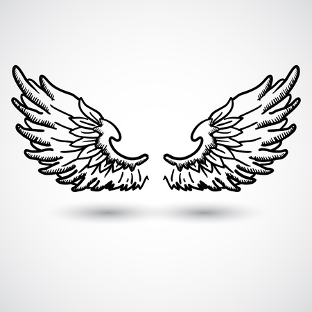 paloma caricatura: Alas del ángel del estilo del Doodle