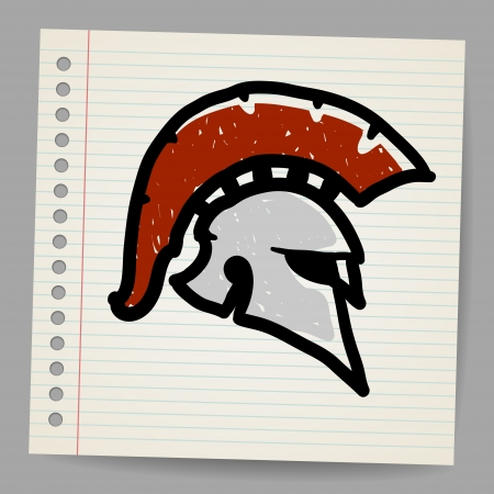 Bronze doodle illustration of Trojan Helmet, Corinthian style  Vector