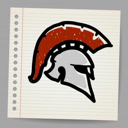 hoplite: Bronze doodle illustration of Trojan Helmet, Corinthian style  Illustration