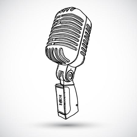 microfono de radio: Micrófono en estilo garabato