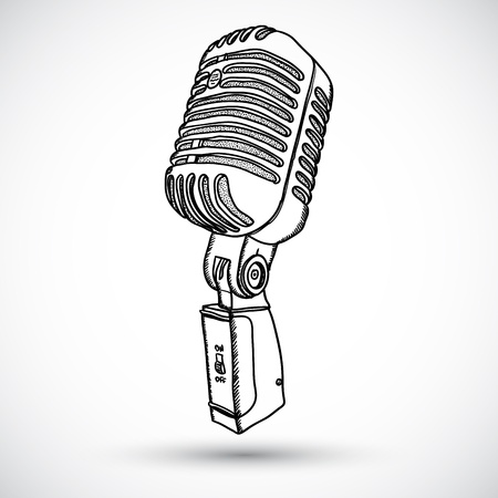 mic: Microfono in stile Doodle Vettoriali