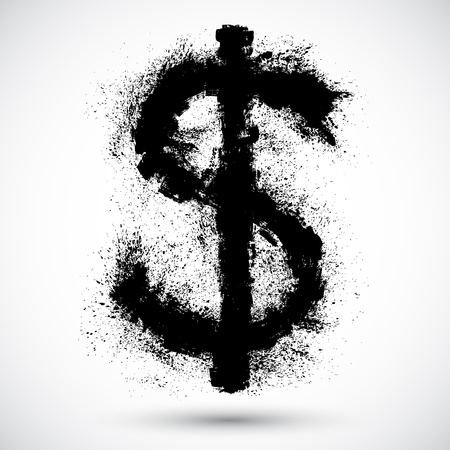 Vector illustration of Dollar splatter design element  Illustration