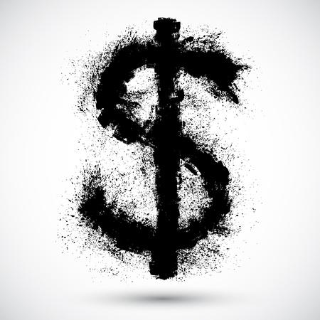Vector illustration of Dollar splatter design element  Illustration
