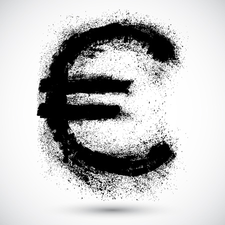 Grunge shape of the European Union currency, Euro  Vector