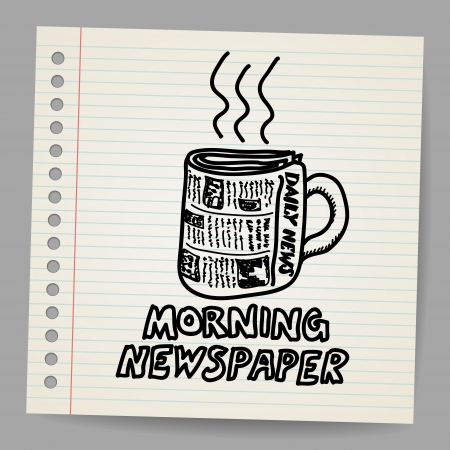 Doodle style newspaper coffee cup illustration Vector