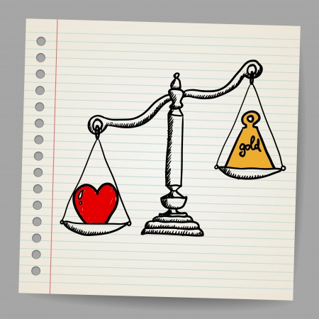 Scales with heart and money Vector