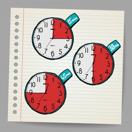 Red vector doodle timers