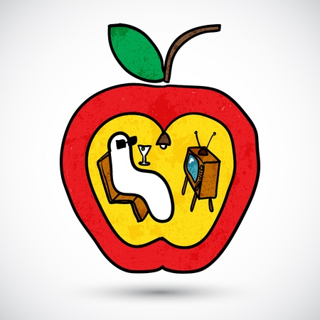 maggot: Apple with a worm in doodle style Illustration