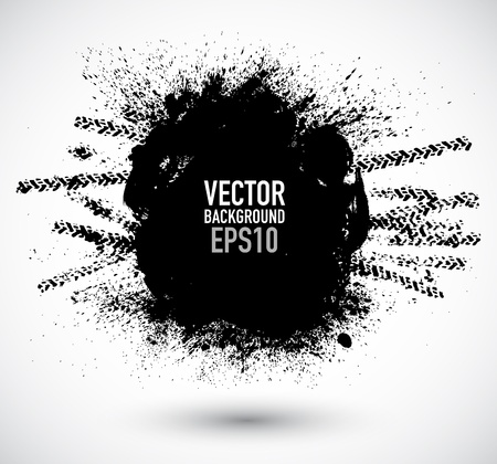 motorbike race: Vector tire track grunge background