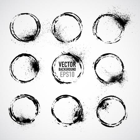 Set of round grunge vector frames  Grunge background