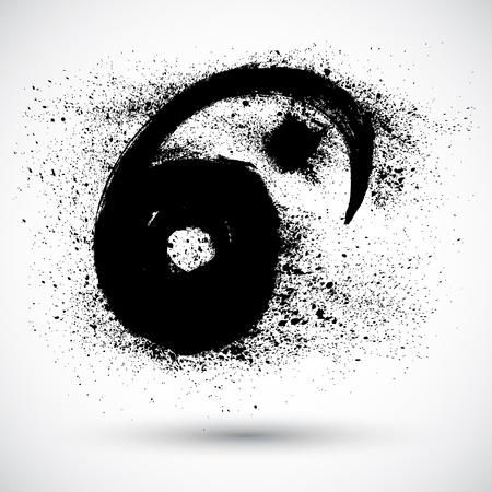 ying yang: Grunge Yin Yan Sign